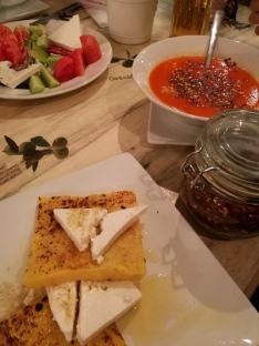 Polenta/Kachamak and traditional dishes like Shopska and Tripe soup